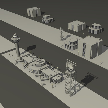 3d render of air port  photo