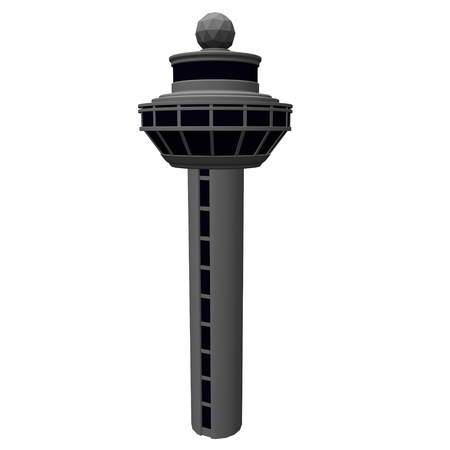 control tower: 3d render of airport tower