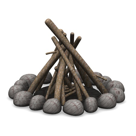 3d render of camp fire