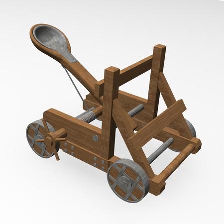 3D render van katapult belegering Stockfoto