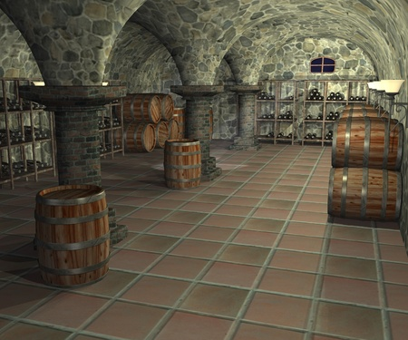 3d render of cellar interior photo