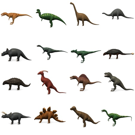 3d render of 16 prehistoric dinosaurs Stock Photo