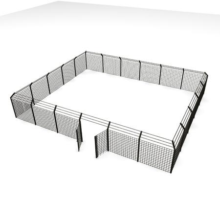 3d framför metall staket Stockfoto