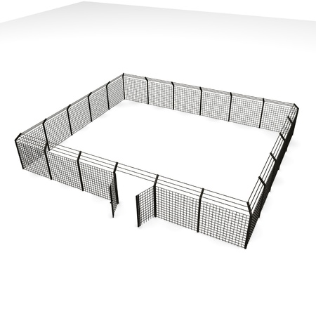 3d render of metal fence Stock Photo
