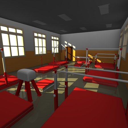 3d render of gym interior photo