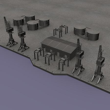 3d render of industrial harbor  photo