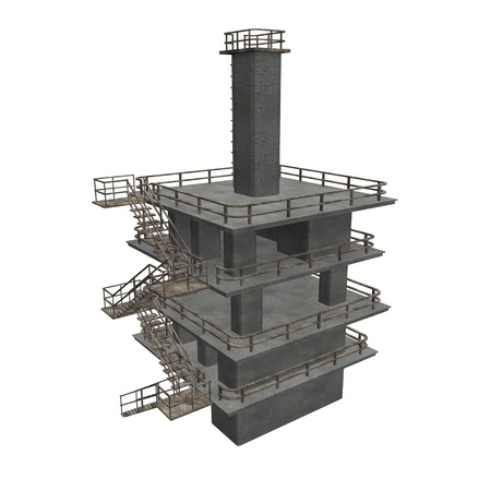 transformator: 3d render of industrial building  Stock Photo