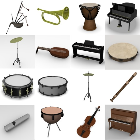 3d render of musical instrument