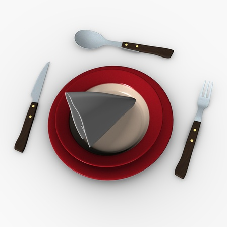 3d render of plate with knife and fork photo