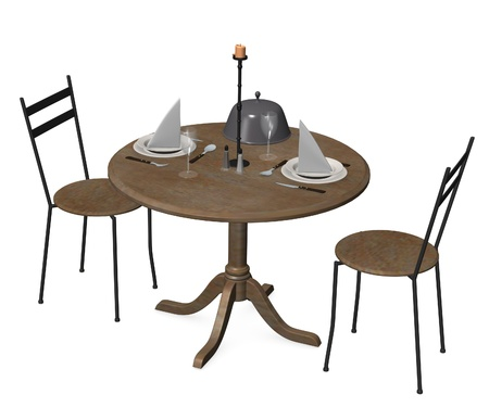 3d render of romantic table  photo