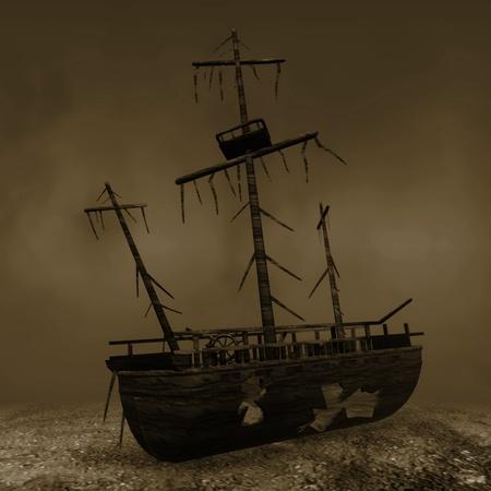 destructed: 3d render of ship wreck