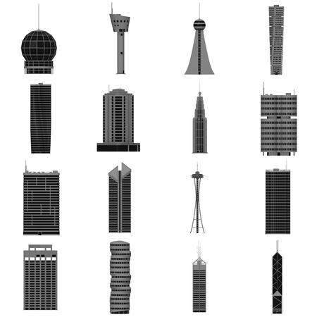 buliding: 3d render of 16 skyscraper buildings