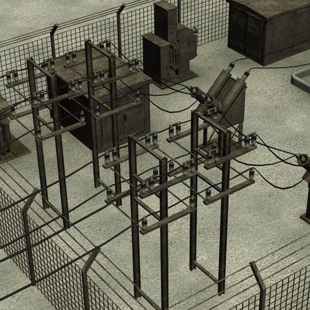 3d render of electric substation photo