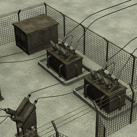 transformator: 3d render of electric substation