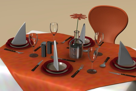 3d render of restaurant table photo