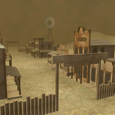 saloon: 3d render of western town