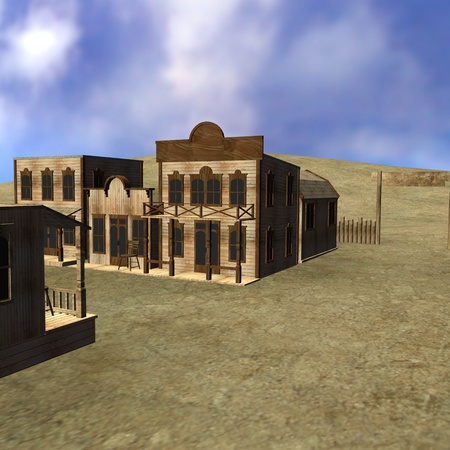 the old times: 3d render of western town