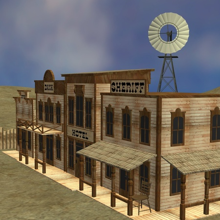 3d render of western town  photo