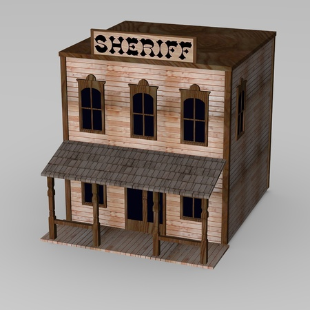 the old times: 3d render of western house