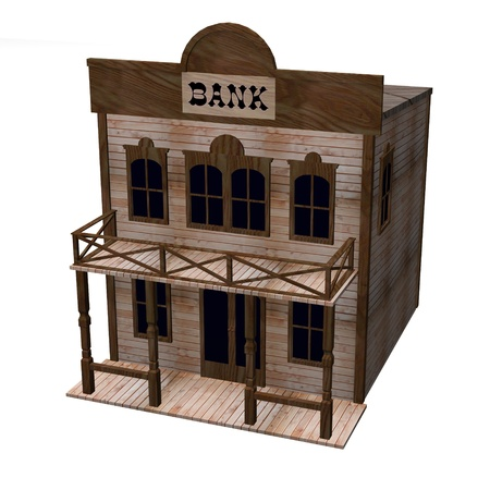 gold rush: 3d render of western house