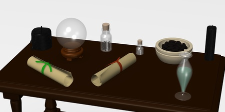 3d render of witchs table photo