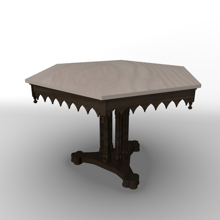 curio: 3d render of antiqe table Stock Photo