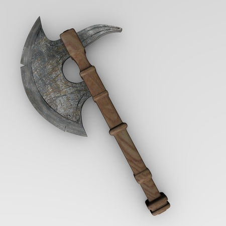 melee: 3d render of axe (weapon)  Stock Photo