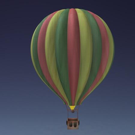 balon: 3d render of hot - air ballon Stock Photo