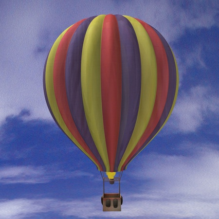 air baloon: 3d render of hot - air ballon Stock Photo