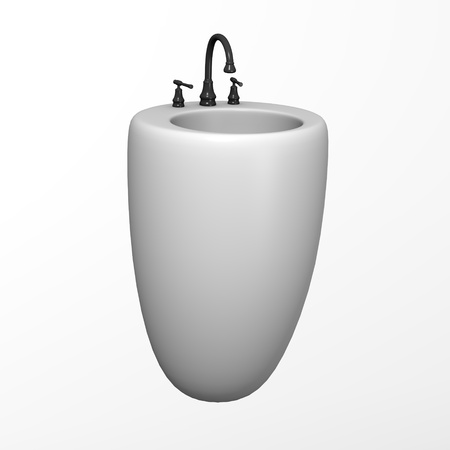 lavabo: 3d render of bath basin  Stock Photo