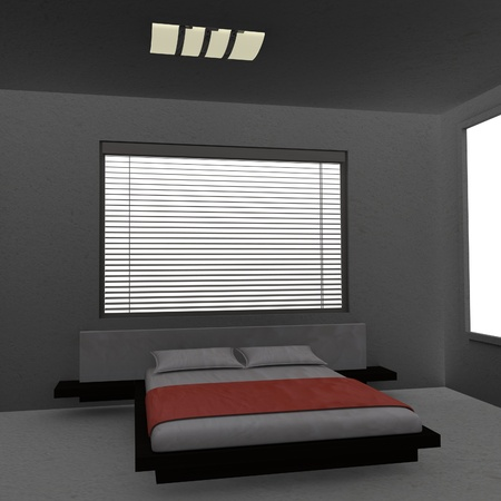 matress: 3d render of bed room  Stock Photo