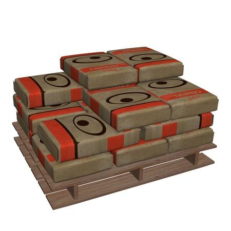 3d render of cement bag
