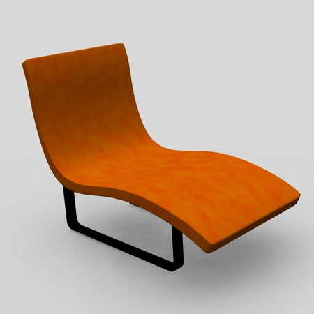3d de la silla y la cama media