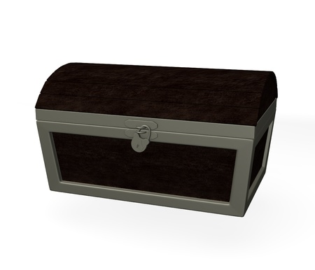 burried: 3d render of old massive chest  Stock Photo