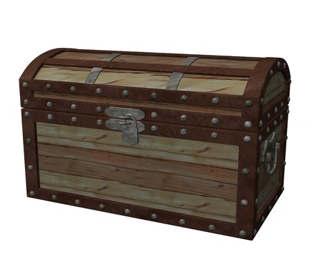 3d render of old massive chest  photo