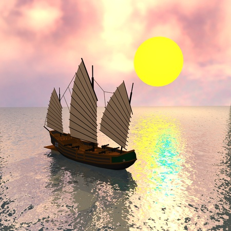 3d render of chinese pirate ship photo