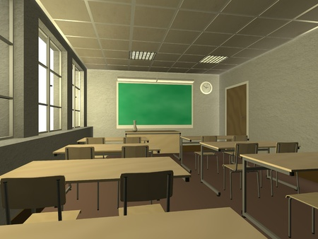 3d render of classroom interior  photo