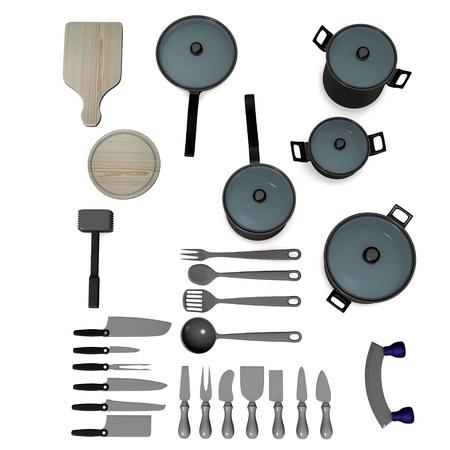 utensilios de cocina: 3d de utensilios de cocina, sartenes, ollas