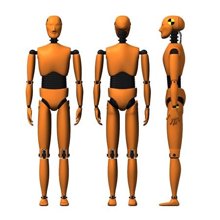 Rendu 3D de mannequin d'essai accident de voiture
