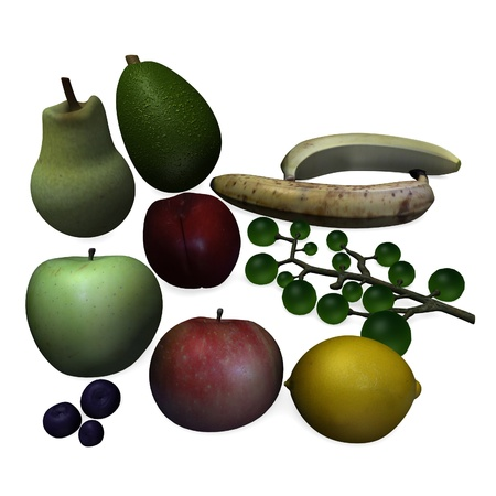 3d render of fruit collection  photo