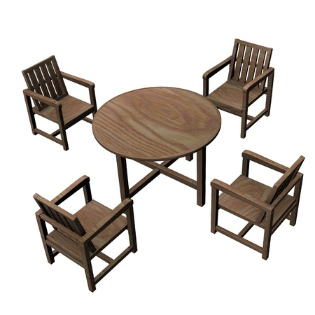 3d render of garden furniture photo