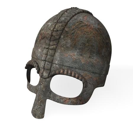 3d render of old helmet  photo