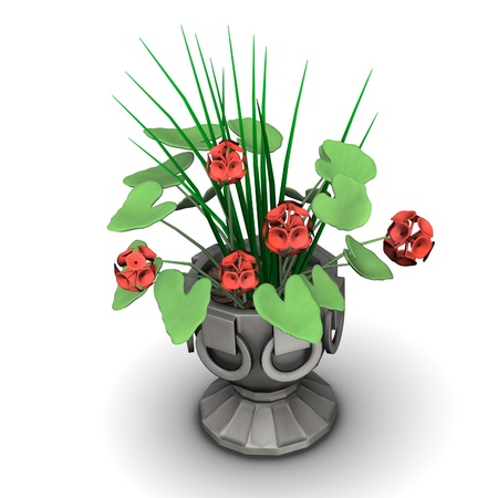 3d render of flower in pot  Stock Photo - 12907697
