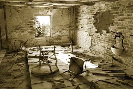 ruin: 3d render of ruined interior