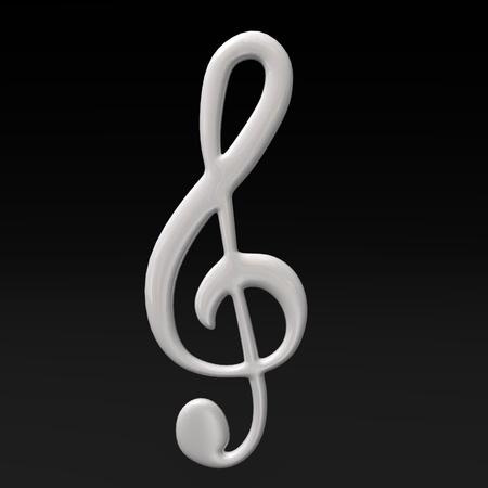 g clef: 3d render of musical symbol