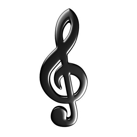treble clef: 3d render of musical symbol