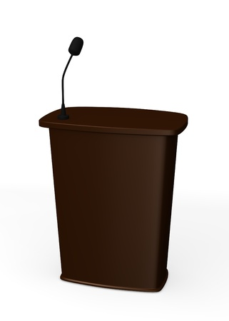 3d render of podium with microphone