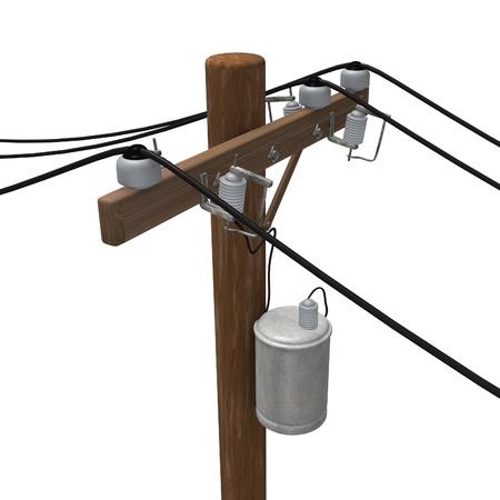 transformator: 3d render of power line