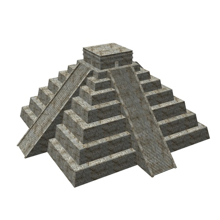 3d temple: 3d render of mexician pyramide