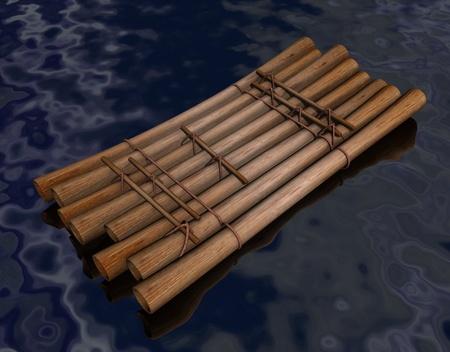 balsa: 3D render van water vlot Stockfoto